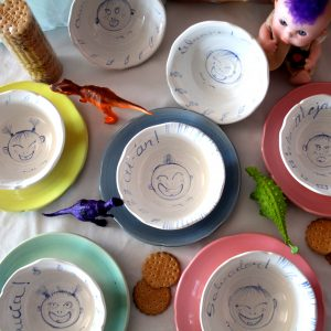 BeibiPUNK illustrated flatware for children handmade by Luis Torres Ceramics