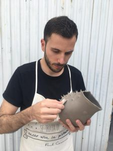 Creative ceramist Luis Torres Ceramics Spain and his handmade design flowerpot Crisalida
