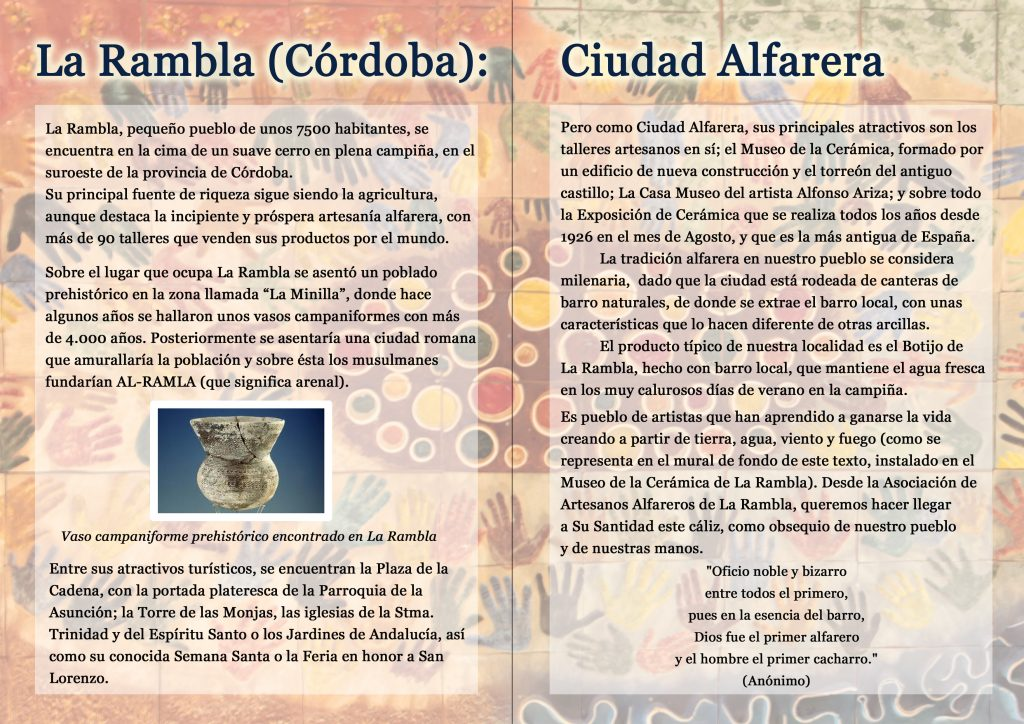 tourist leaflet of La Rambla Cordoba Spain The Potters' Village by Torres Ferreras ceramics studio