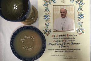 Ceramics design holy chalice present for Pope Francis I by master artisan Torres Ferreras La Rambla Cordoba Spain